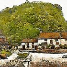 A digital painting of Sir Francis Drake's House (Blakeney) near Severn Bridge, Gatcombe, England 19th century by Dennis Melling