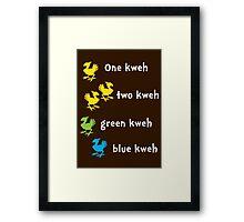 One Kweh Two Kweh Green Kweh Blue Kweh Framed Print