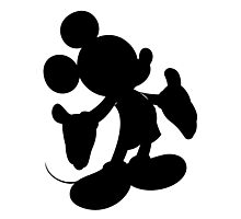 Black Mickey Mouse Silhouette Photographic Print