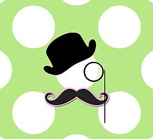 Monocle, Moustache, Hat, Dots - Black Green Pink by sitnica