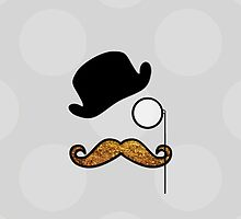 Hat, Monocle, Moustache, Glitter - Black Gold  by sitnica