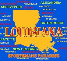 Colorful Louisiana State Pride Map Silhouette  by KWJphotoart