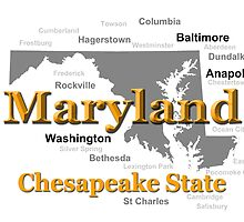 Maryland State Pride Map Silhouette  by KWJphotoart