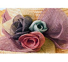 Raffia Roses on Hat  Photographic Print
