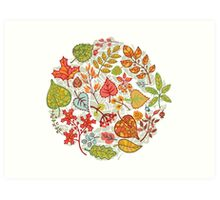 Circle composition with Autumn leaves,branches,berries Art Print