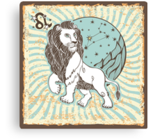 Leo zodiac sign.Vintage Horoscope Canvas Print