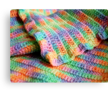 Multicolored Knitted Baby Blanket Canvas Print