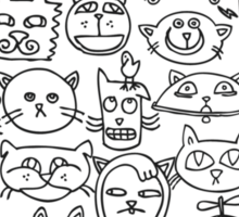 Cat Heads Sticker