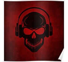 Skull with Headphones - Rave - Electro - Hardstyle Poster
