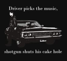 Driver picks the music, Shotgun shuts his cakehole by amandawlzr