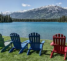 Colourful Chairs at Jasper Park Lodge, Alberta, Canada by Gerda Grice