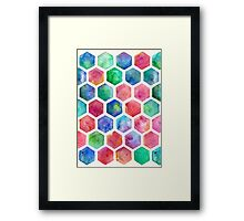Hand Painted Watercolor Honeycomb Pattern Framed Print