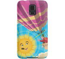 Girl in a balloon greeting a happy sun Samsung Galaxy Case/Skin