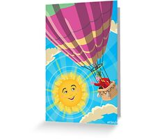 Girl in a balloon greeting a happy sun Greeting Card