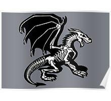 Grey Background Black Skeleton Dragon Design, Bag of Bones Dragon Poster