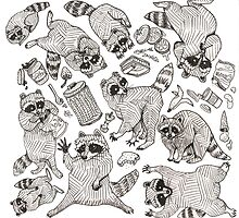 Naughty Raccoons by Dan Paul  Roberts