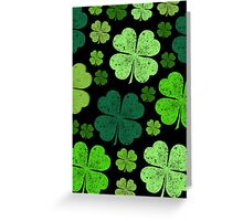 Saint Patrick's Day, Four Leafed Clovers - Green Greeting Card