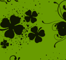 Saint Patrick's Day, Swirls, Heart - Green Black Sticker