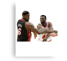 Lebron James getting hit Canvas Print