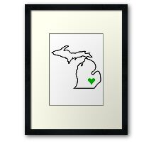 Michigan Love - Green  Framed Print