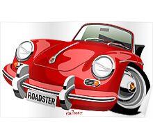 Porsche 356B roadster caricature Poster