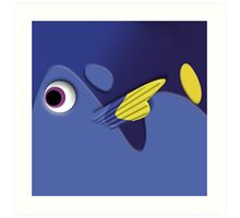 Blue ornamental fish cartoons Art Print