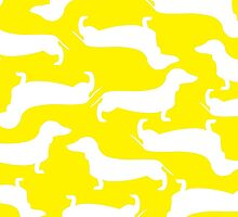 Cute Dachshund Pattern YELLOW by WaggSwagg