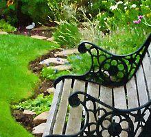 Scroll Garden Bench Scene - Digital Oil by Sandra Foster