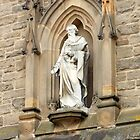 Statue of St. Nicholas on Church in Durham by kathrynsgallery