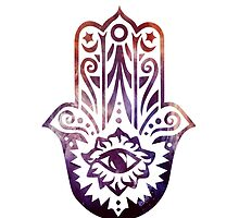 Purple Orange Fatima Hand Hamsa by ohdeer