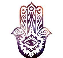 Purple Orange Fatima Hand Hamsa by ohdeer