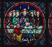 Stained glass Last Supper Cathedral Laon France 198405070053 by Fred Mitchell