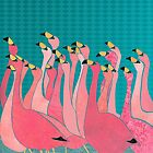 Pink flamingos by Janet Carlson