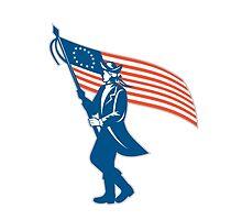 American Serviceman Soldier Waving Flag Retro by patrimonio