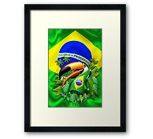 Toco Toucan with Brazil Flag Framed Print