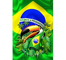 Toco Toucan with Brazil Flag Photographic Print