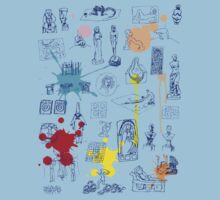 History of Art (blue artlines, w/ paint splashes) Kids Clothes