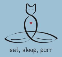"""Stylized Cat Meditator with Eat, Sleep, Purr"""" in fancy text by Mindful-Designs"""