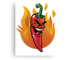 Evil red hot chili pepper Canvas Print