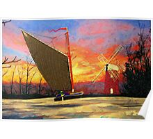 A digital painting of a Norfolk Wherry and Windmill Poster