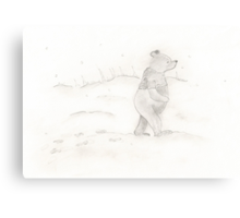 Pooh in snow Canvas Print