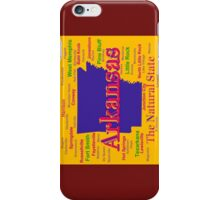 Colorful Arkansas State Pride Map Silhouette  iPhone Case/Skin