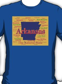 Colorful Arkansas State Pride Map Silhouette  T-Shirt
