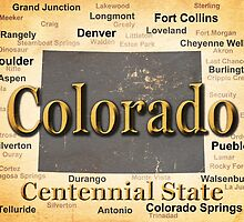 Aged Colorado State Pride Map Silhouette  by KWJphotoart