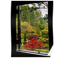 Window on Butchart Gardens Poster