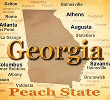Aged Georgia State Pride Map Silhouette  by KWJphotoart