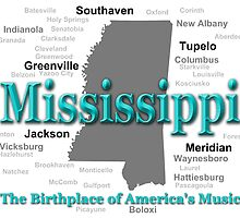 Mississippi State Pride Map Silhouette  by KWJphotoart