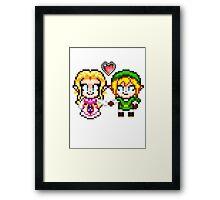Link and Zelda In Love - Pixel Art Framed Print