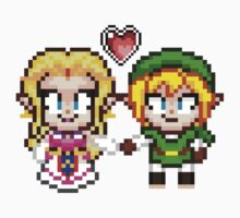 Link and Zelda In Love - Pixel Art by geekmythology