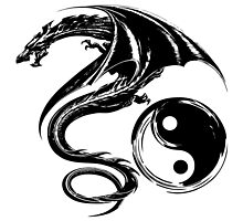 Yin And Yang Big Black Flying Dragon On White Background Design by LuckDragonGifts